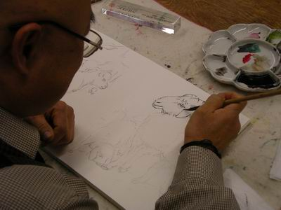 Drawing Straight Lines With Brush In Photo : Sumi e artists of canada