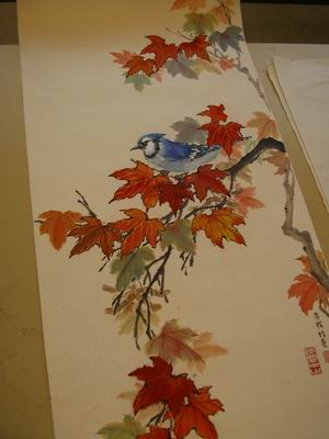 Moira Mu Our Instructor Brought Several Samples Of Maple Leaves And Blue Jays To Her Work